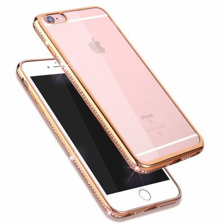 iPhone 8 Plus TPU Gummi Hülle Klar Silikon Crystal Clear Case Glitzer Strass GOLD – Bild 1