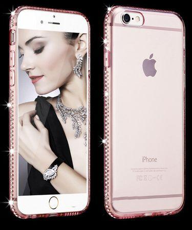 iPhone 8 Plus TPU Gummi Hülle Klar Silikon Crystal Clear Case Glitzer Strass PINK Roségold – Bild 1