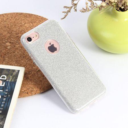 iPhone 8 Plus Glitzer Hülle Gummi TPU Klar Silikon Crystal Clear Case SILBER – Bild 2