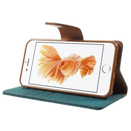 iPhone 8 Plus Mercury Goospery Canvas Stoff Leder Etui Case mit Kartenfach Flip Tasche Hülle GRÜN / TÜRKIS – Bild 3