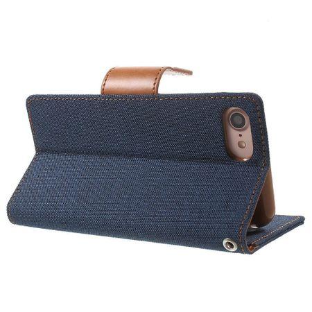 iPhone 8 Plus Mercury Goospery Canvas Stoff Leder Etui Case mit Kartenfach Flip Tasche Hülle BLAU / DUNKELBLAU – Bild 4
