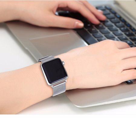 Apple Watch 42mm Series 1 / 2 / 3 ANKI Milanaise Edelstahl Armband SILBER – Bild 4
