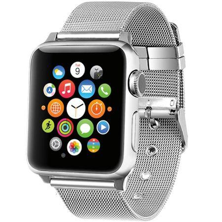 Apple Watch 42mm Series 1 / 2 / 3 ANKI Milanaise Edelstahl Armband SILBER – Bild 2