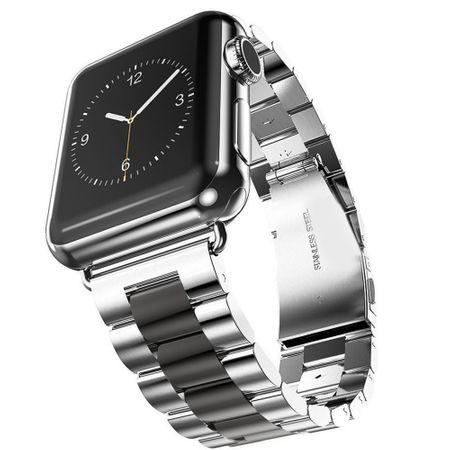 Apple Watch 42mm ANKI Luxus Edelstahl Armband Band SILBER / SCHWARZ – Bild 1