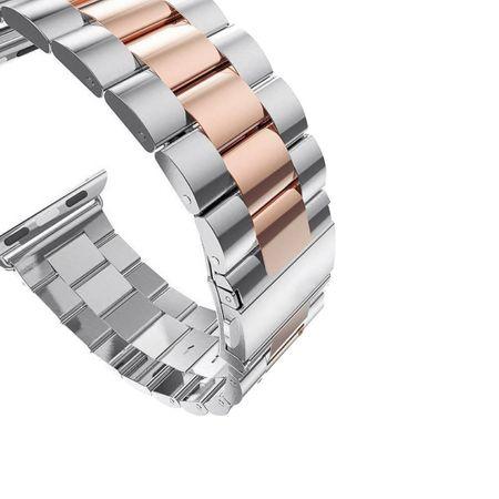 Apple Watch 42mm ANKI Luxus Edelstahl Armband Band SILBER / ROSÉGOLD – Bild 3
