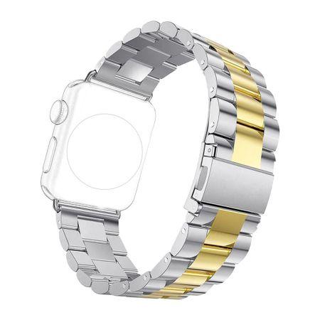 Apple Watch 42mm ANKI Luxus Edelstahl Armband Band SILBER / GOLD – Bild 4