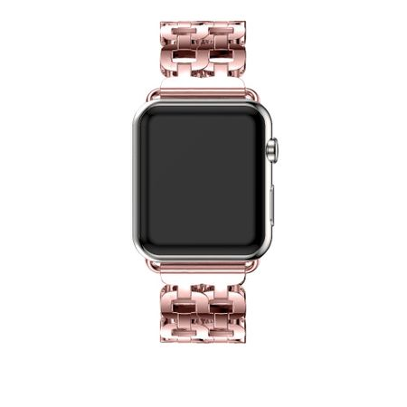Apple Watch 42mm Luxus Edelstahl Ring Armband Metall ROSÉGOLD – Bild 4