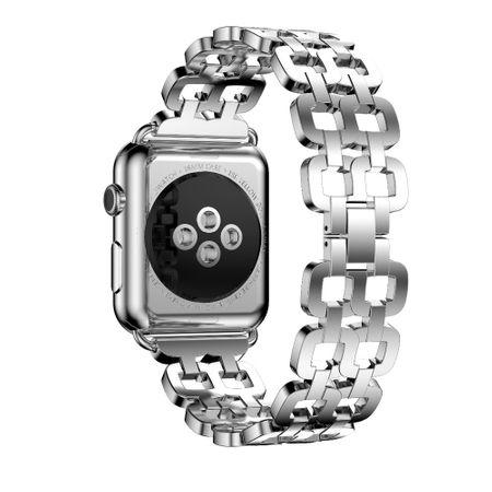 Apple Watch 38mm Luxus Edelstahl Ring Armband Metall SILBER – Bild 1
