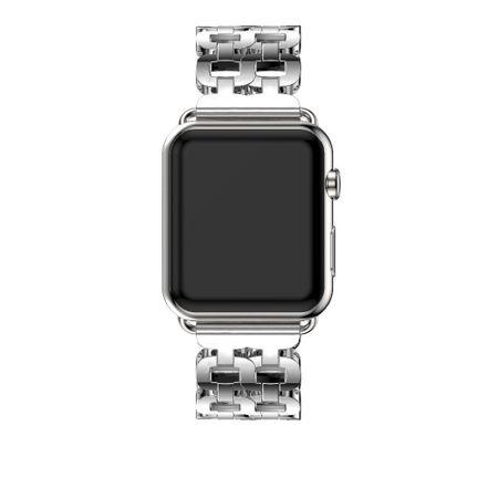 Apple Watch 38mm Luxus Edelstahl Ring Armband Metall SILBER – Bild 3