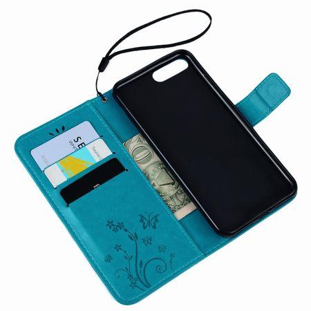 iPhone 7 Leder Etui Blume Schmetterling Hülle Flip Case Cover BLAU / TÜRKIS – Bild 5