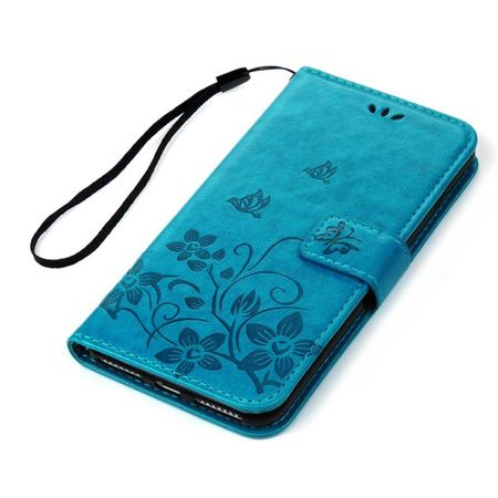 iPhone 7 Leder Etui Blume Schmetterling Hülle Flip Case Cover BLAU / TÜRKIS – Bild 4