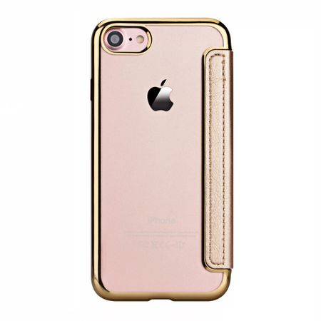 iPhone 7 Leder Etui Hülle Flip Case GOLD – Bild 5