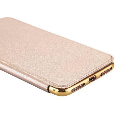 iPhone 7 Leder Etui Hülle Flip Case GOLD – Bild 6