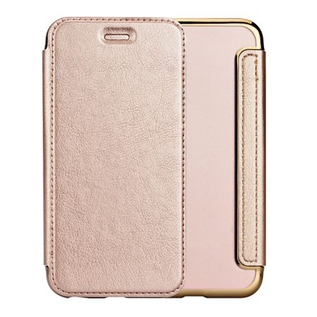 iPhone 7 Leder Etui Hülle Flip Case GOLD – Bild 3