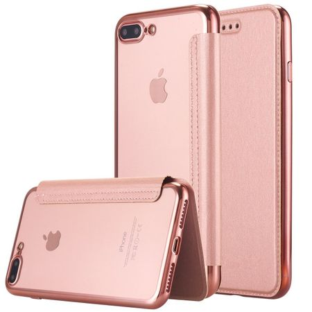 iPhone 7 Leder Etui Hülle Flip Case ROSÉGOLD / PINK – Bild 1