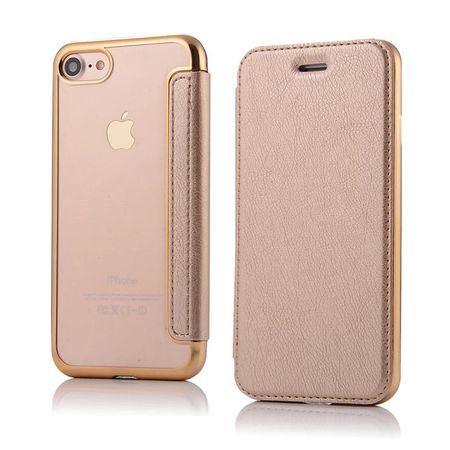 iPhone 7 Plus Leder Etui Hülle Flip Case GOLD – Bild 2