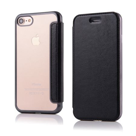 iPhone 7 Plus Leder Etui Hülle Flip Case SCHWARZ – Bild 2