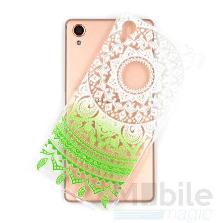 Sony Xperia Z5 Indian Mandala Gummi TPU Silikon Case Grün Transparent – Bild 3