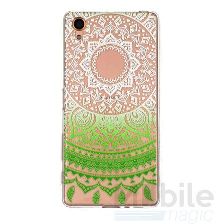 Sony Xperia Z5 Indian Mandala Gummi TPU Silikon Case Grün Transparent – Bild 1