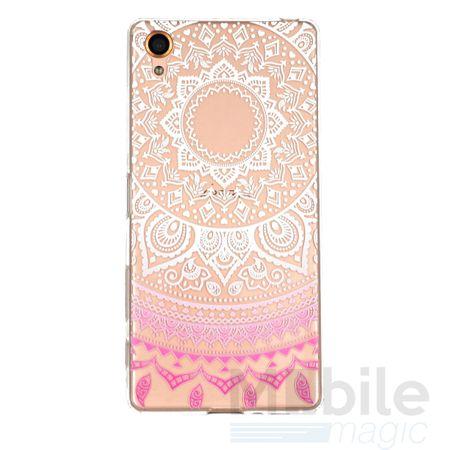 Sony Xperia X Indian Mandala Gummi TPU Silikon Case Pink Transparent – Bild 1