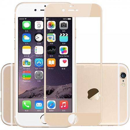 iPhone 6S / 6 Randlos PANZERGLAS Abgerundetes Tempered Glass Glas Schutzfolie GOLD – Bild 1