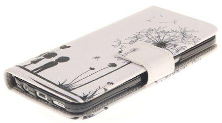Samsung Galaxy A8 (2018) Pusteblume Junge & Mädchen Leder Etui Flip Hülle Case Tasche WEISS – Bild 3