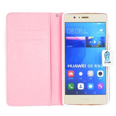 Samsung Galaxy A8 (2018) Leder Etui Eule Tasche Hülle Flip Cover Case PINK / ROSA – Bild 3
