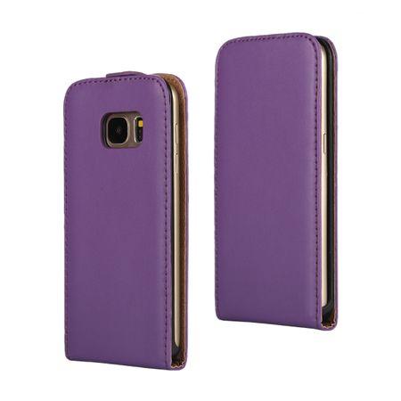 Samsung Galaxy A8 (2018) Leder Flip Case Cover Etui Tasche Vertikal Hülle VIOLETT / LILA – Bild 1