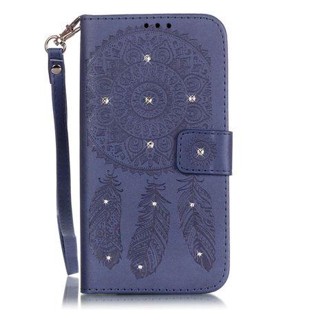 Samsung Galaxy A8 (2018) Traumfänger Leder Etui Glitzer Tasche Hülle BLAU – Bild 1