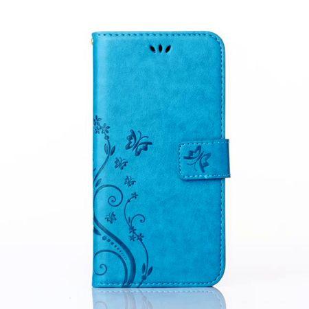 Samsung Galaxy A8 (2018) Leder Etui Blume Schmetterling Hülle Flip Case Cover BLAU / TÜRKIS – Bild 3
