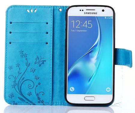 Samsung Galaxy A8 (2018) Leder Etui Blume Schmetterling Hülle Flip Case Cover BLAU / TÜRKIS – Bild 4