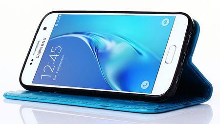 Samsung Galaxy A8 (2018) Leder Etui Blume Schmetterling Hülle Flip Case Cover BLAU / TÜRKIS – Bild 5