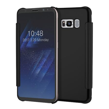 Samsung Galaxy A8 (2018) Clear Window View Case Cover Spiegel Mirror Hülle SCHWARZ – Bild 4
