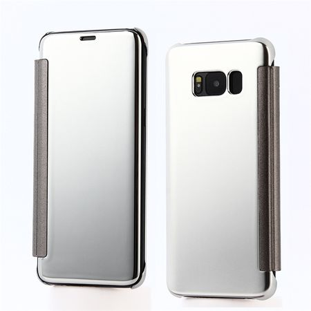 Samsung Galaxy A8 (2018) Clear Window View Case Cover Spiegel Mirror Hülle SILBER – Bild 1