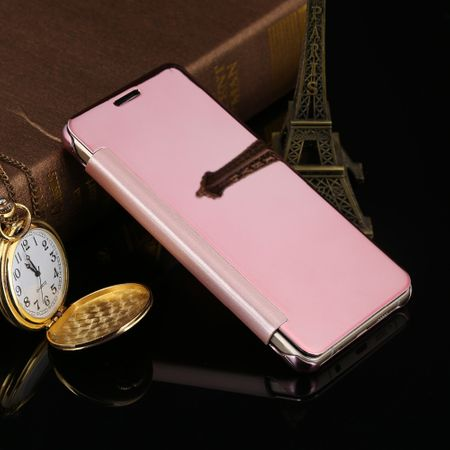 Samsung Galaxy A8 (2018) Clear Window View Case Cover Spiegel Mirror Hülle ROSÉGOLD Pink – Bild 3