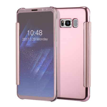 Samsung Galaxy A8 (2018) Clear Window View Case Cover Spiegel Mirror Hülle ROSÉGOLD Pink – Bild 4