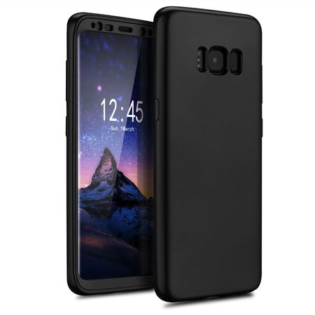 Samsung Galaxy A8 (2018) Komplett Schutz Case + Panzerglas Full Protection Cover Hülle SCHWARZ – Bild 2