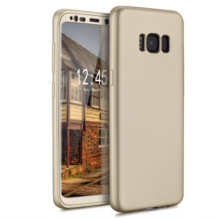 Samsung Galaxy A8 (2018) Komplett Schutz Case + Panzerglas Full Protection Cover Hülle GOLD – Bild 2