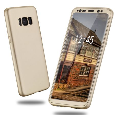 Samsung Galaxy A8 (2018) Komplett Schutz Case + Panzerglas Full Protection Cover Hülle GOLD – Bild 4