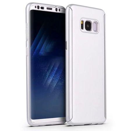 Samsung Galaxy A8 (2018) Komplett Schutz Case + Panzerglas Full Protection Cover Hülle SILBER – Bild 4