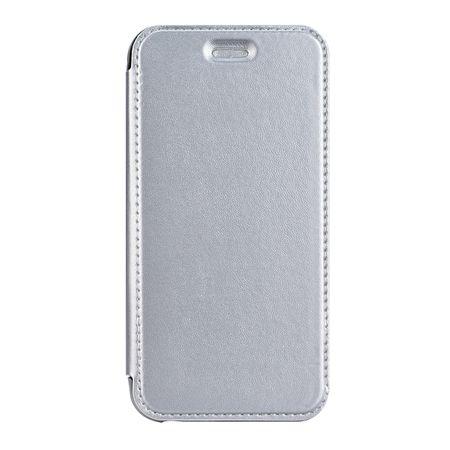 Samsung Galaxy A8 (2018) Leder Etui Hülle Flip Case SILBER – Bild 2