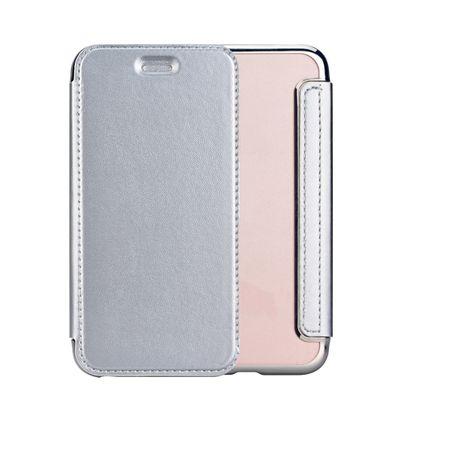 Samsung Galaxy A8 (2018) Leder Etui Hülle Flip Case SILBER – Bild 1