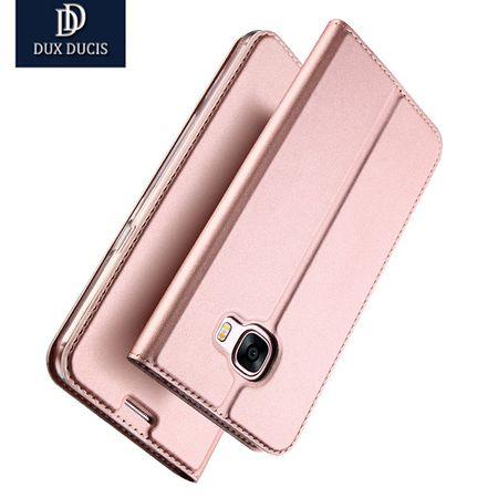 Samsung Galaxy A8 (2018) DUX DUCIS Etui Leder Case Hülle mit Kartenfach ROSÉGOLD / PINK – Bild 2