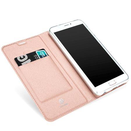 Samsung Galaxy A8 (2018) DUX DUCIS Etui Leder Case Hülle mit Kartenfach ROSÉGOLD / PINK – Bild 4