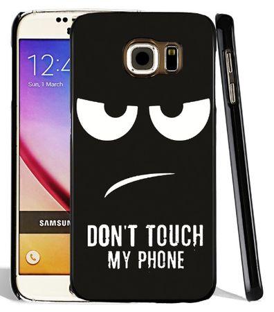 Samsung Galaxy A8 (2018) DON'T TOUCH MY PHONE Gummi TPU Hülle Silikon Case Cover SCHWARZ – Bild 1