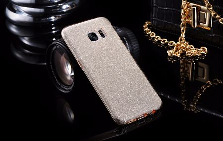 Samsung Galaxy A8 (2018) Glitzer Hülle Gummi TPU Klar Silikon Crystal Clear Case GOLD – Bild 2