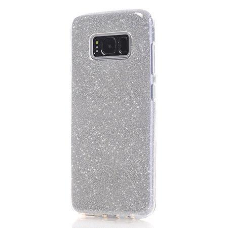 Samsung Galaxy A8 (2018) Glitzer Hülle Gummi TPU Klar Silikon Crystal Clear Case SILBER – Bild 4