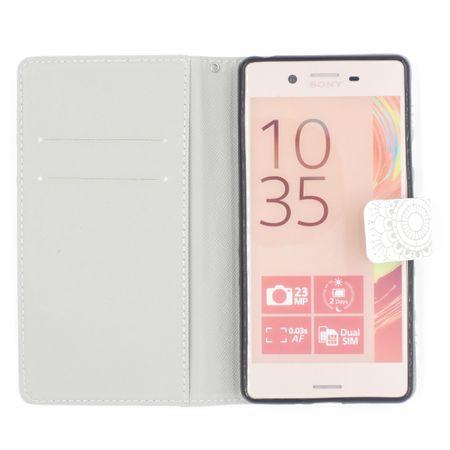 Samsung Galaxy A8 Plus Mandala Henna Leder Etui Tasche Hülle Case WEISS – Bild 3