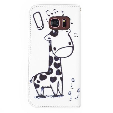 Samsung Galaxy A8 Plus Leder Etui Giraffe Tasche Flip Case Hülle Cover WEISS – Bild 2