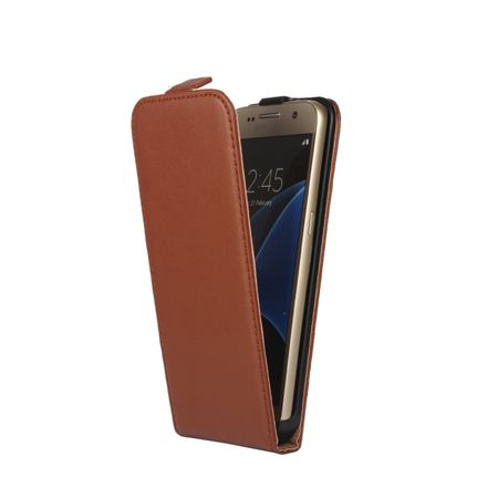 Samsung Galaxy A8 Plus Leder Flip Case Cover Etui Tasche Vertikal Hülle BRAUN – Bild 2